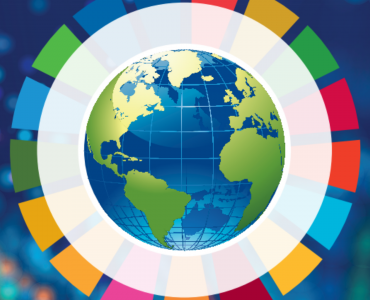 Globe surrounded by SDG colours