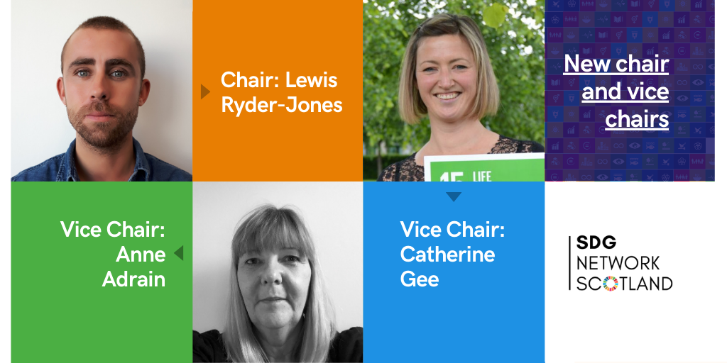 New chair and vice-chairs, SDG network Scotland. Chair - Lewis Ryder-Jones, Vice Chairs - Catherine Gee and Anne Adrain